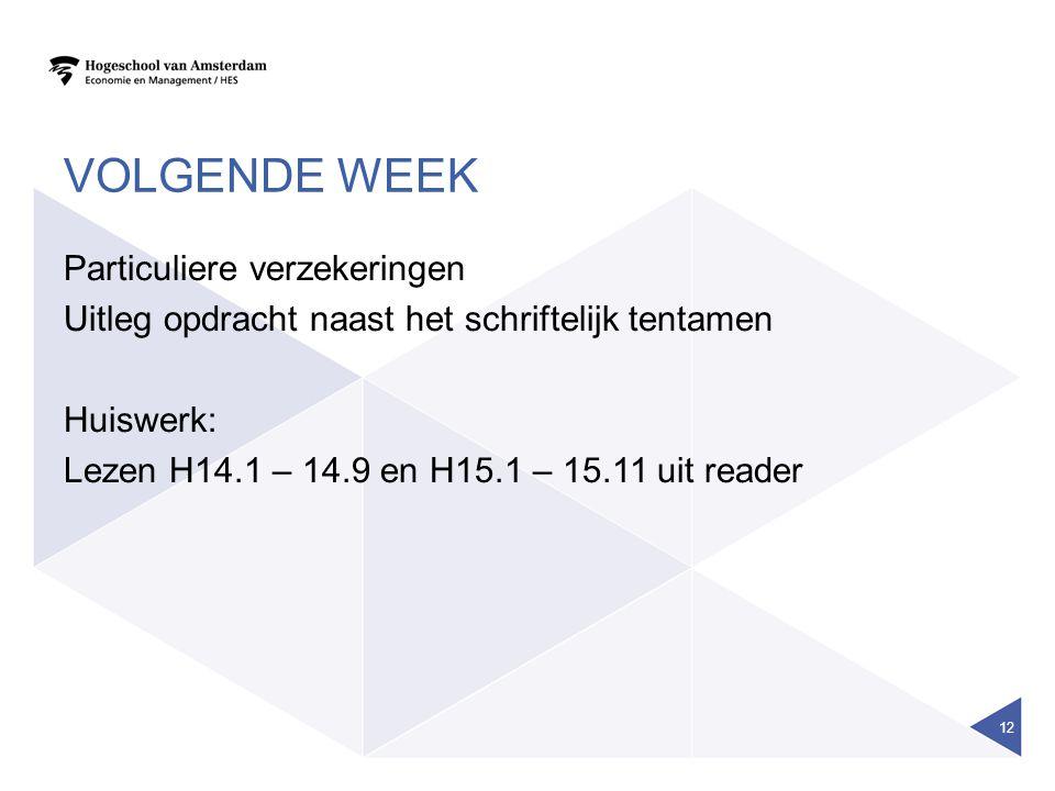 Volgende week Particuliere verzekeringen Uitleg opdracht naast het schriftelijk tentamen Huiswerk: Lezen H14.1 – 14.9 en H15.1 – 15.11 uit reader