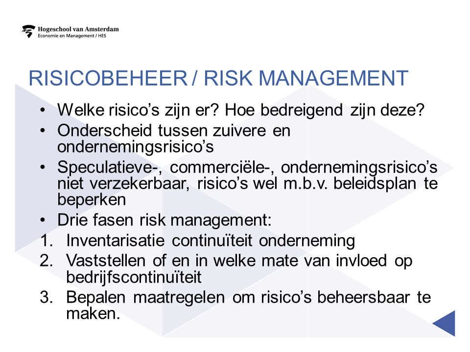 Risicobeheer / Risk Management