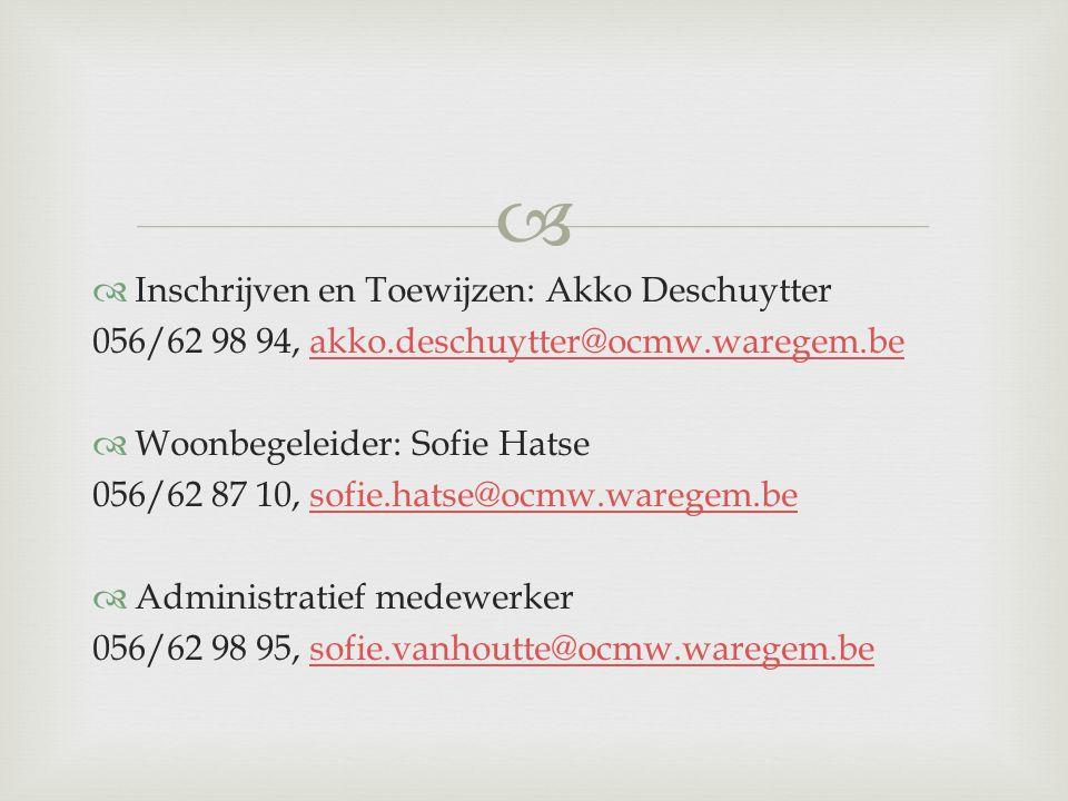 Inschrijven en Toewijzen: Akko Deschuytter