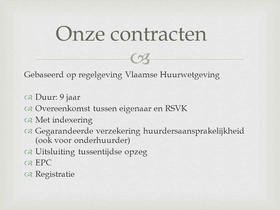 Onze contracten Gebaseerd op regelgeving Vlaamse Huurwetgeving