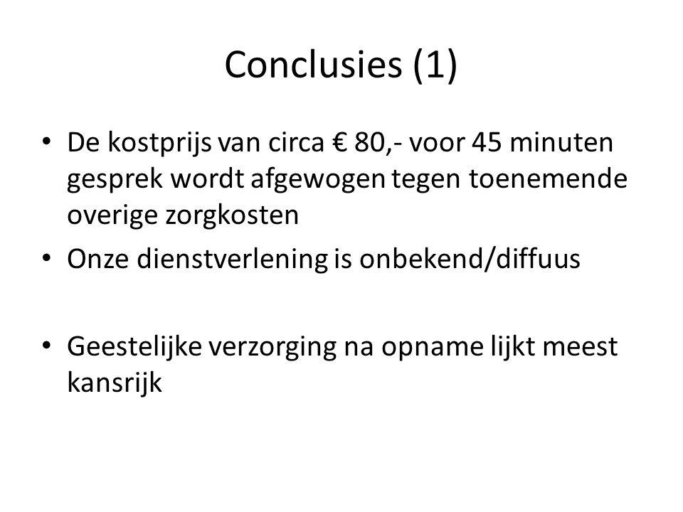 Conclusies (1) De kostprijs van circa € 80,- voor 45 minuten gesprek wordt afgewogen tegen toenemende overige zorgkosten.