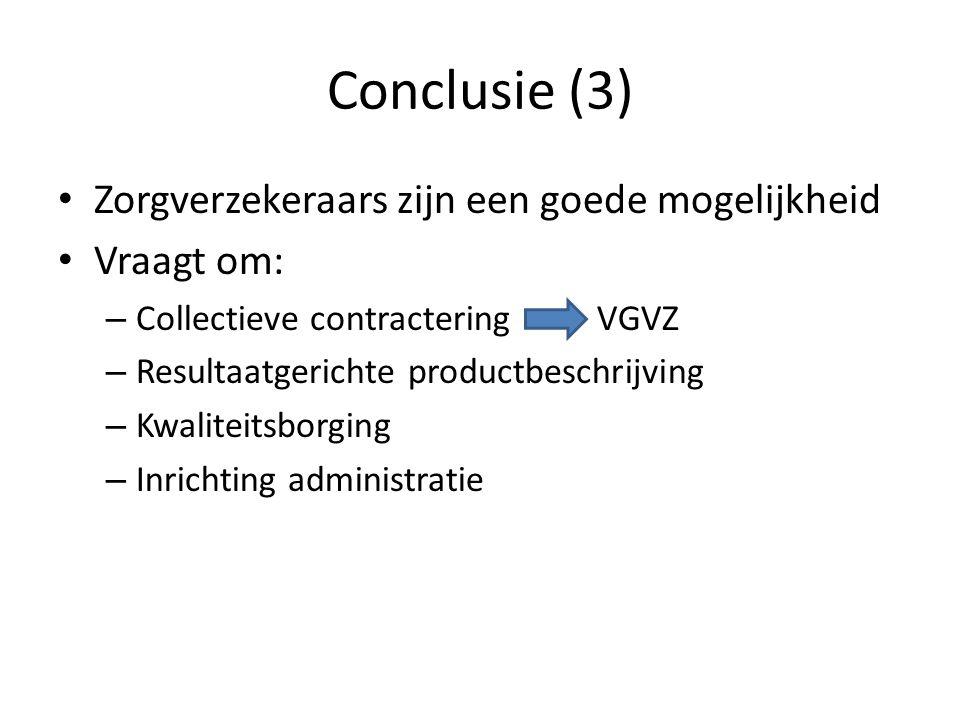 Conclusie (3) Zorgverzekeraars zijn een goede mogelijkheid Vraagt om: