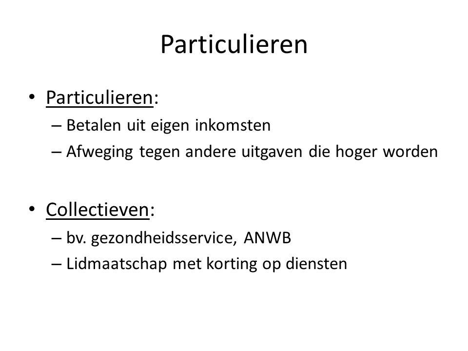 Particulieren Particulieren: Collectieven: Betalen uit eigen inkomsten
