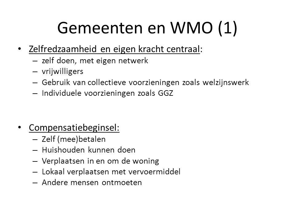 Gemeenten en WMO (1) Zelfredzaamheid en eigen kracht centraal: