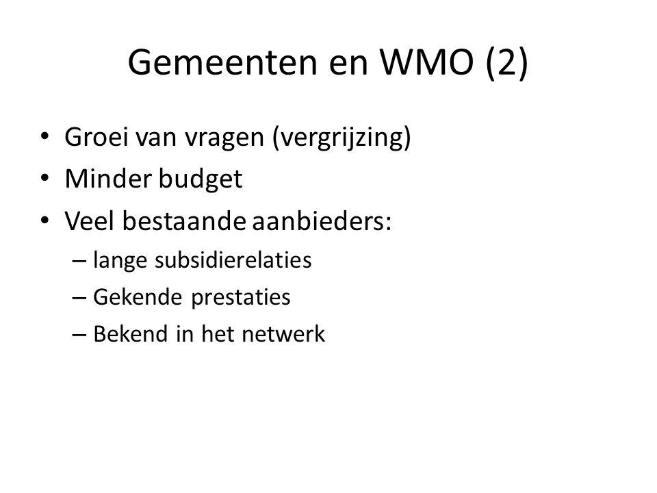 Gemeenten en WMO (2) Groei van vragen (vergrijzing) Minder budget