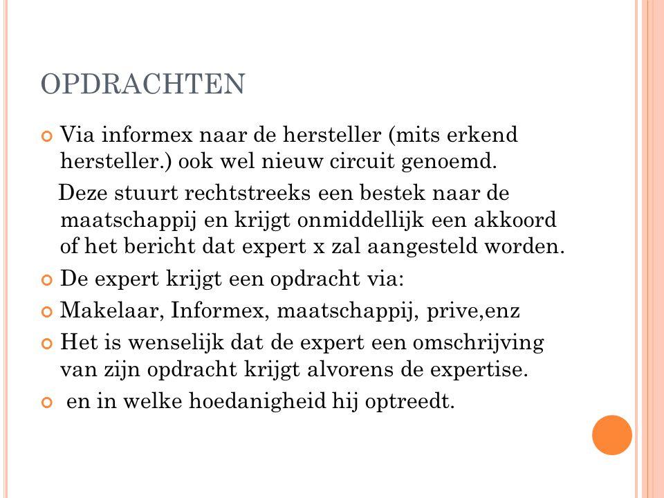 OPDRACHTEN Via informex naar de hersteller (mits erkend hersteller.) ook wel nieuw circuit genoemd.