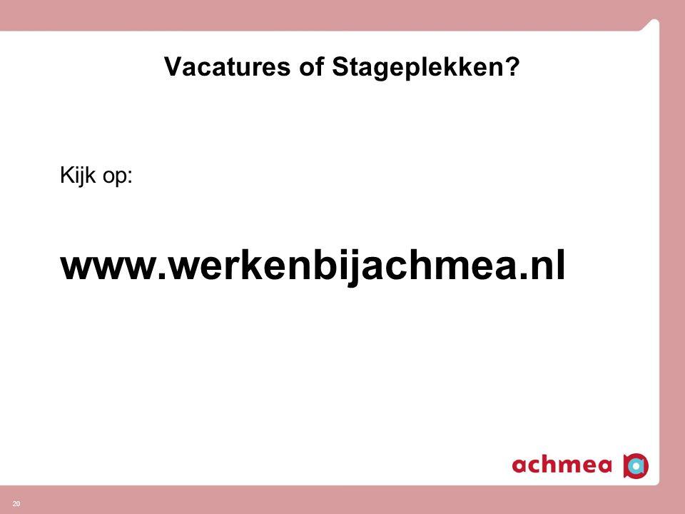 Vacatures of Stageplekken