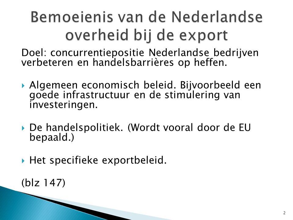Bemoeienis van de Nederlandse overheid bij de export