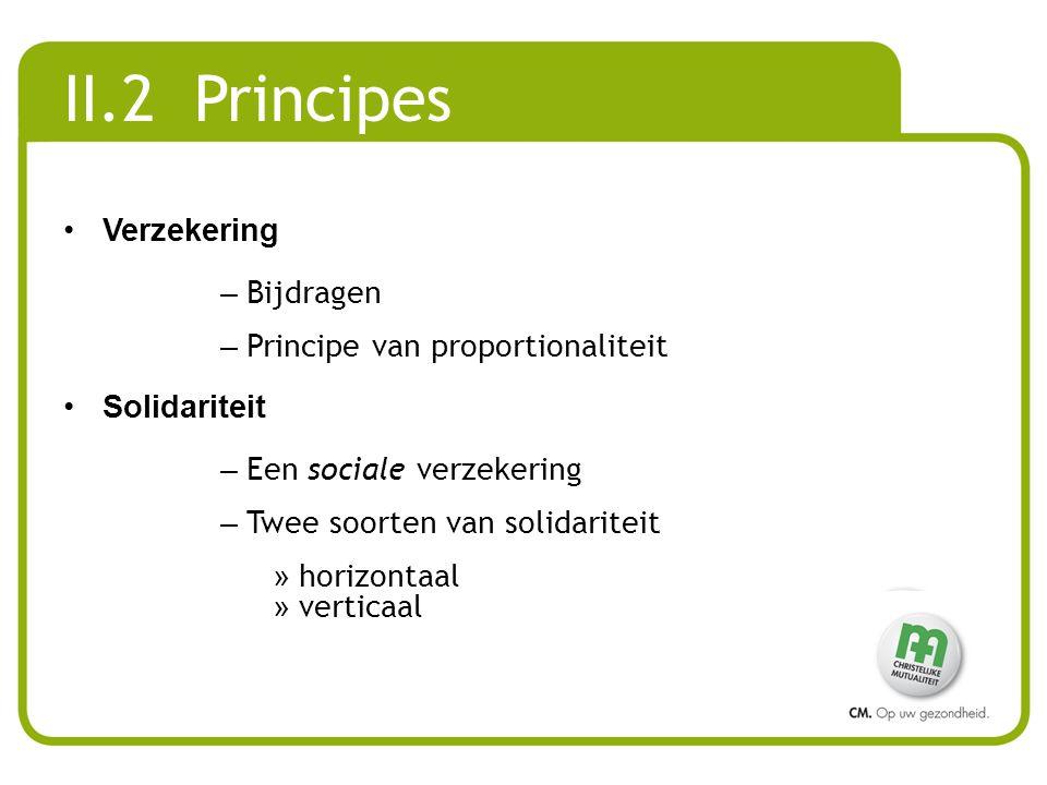 II.2 Principes Verzekering Bijdragen Principe van proportionaliteit