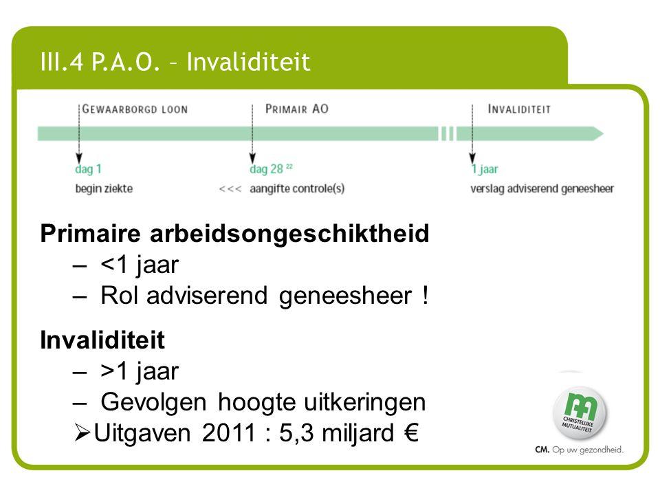 III.4 P.A.O. – Invaliditeit Primaire arbeidsongeschiktheid. <1 jaar. Rol adviserend geneesheer ! Invaliditeit.
