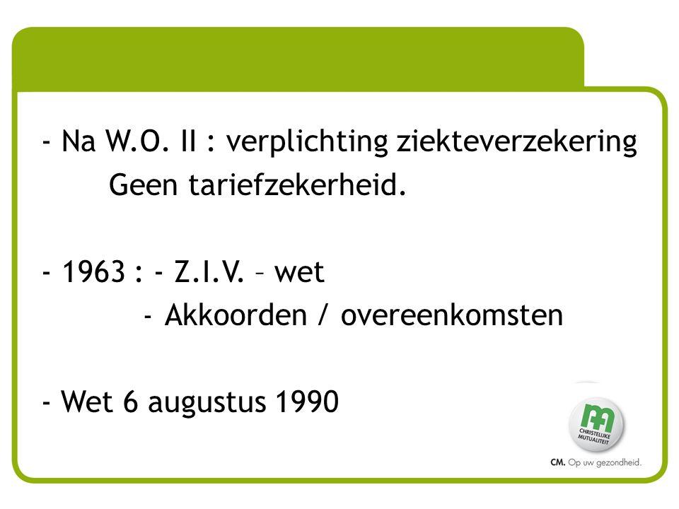 Na W.O. II : verplichting ziekteverzekering Geen tariefzekerheid.