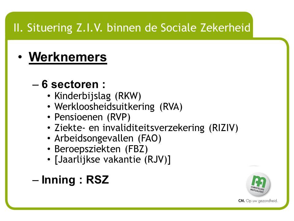 II. Situering Z.I.V. binnen de Sociale Zekerheid