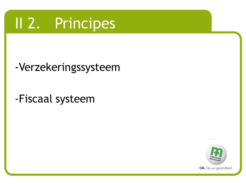 II 2. Principes Verzekeringssysteem Fiscaal systeem