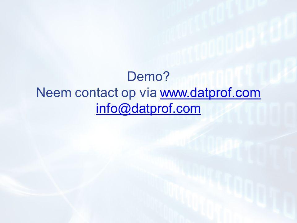 Demo Neem contact op via www.datprof.com info@datprof.com