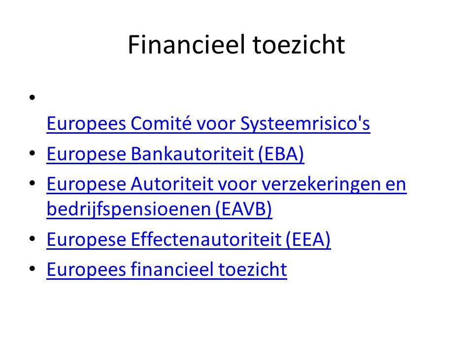 Financieel toezicht Europees Comité voor Systeemrisico s