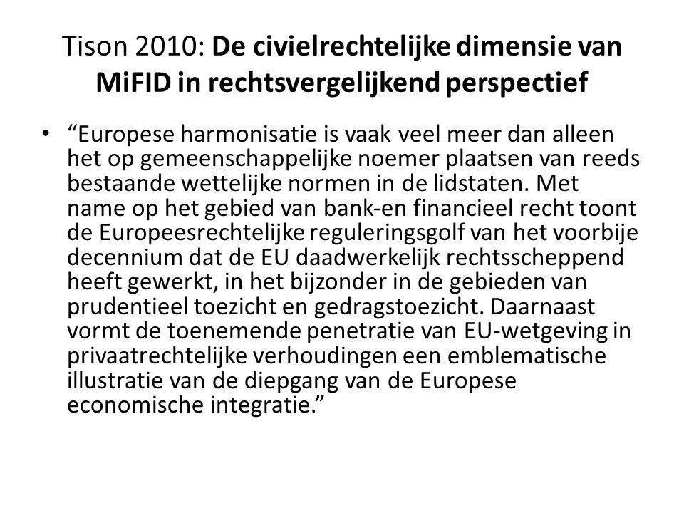 Tison 2010: De civielrechtelijke dimensie van MiFID in rechtsvergelijkend perspectief