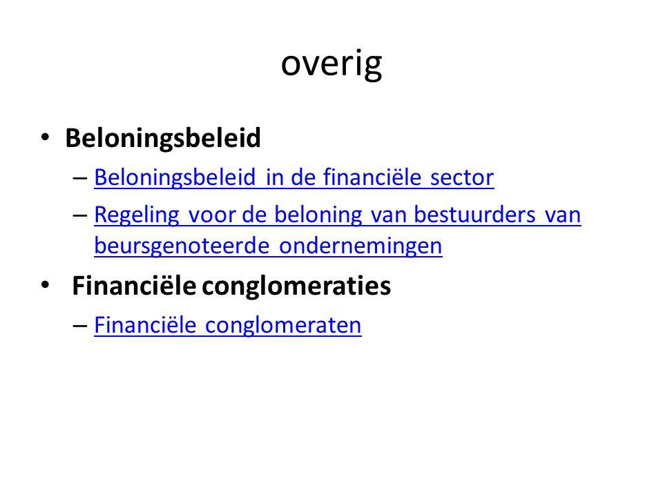 overig Beloningsbeleid Financiële conglomeraties