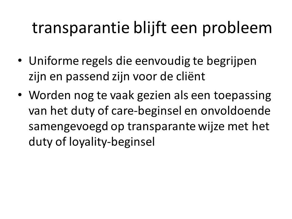 transparantie blijft een probleem