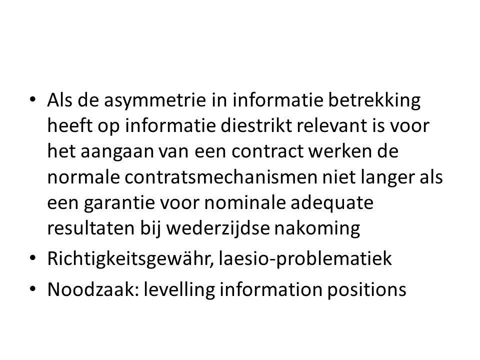 Als de asymmetrie in informatie betrekking heeft op informatie diestrikt relevant is voor het aangaan van een contract werken de normale contratsmechanismen niet langer als een garantie voor nominale adequate resultaten bij wederzijdse nakoming