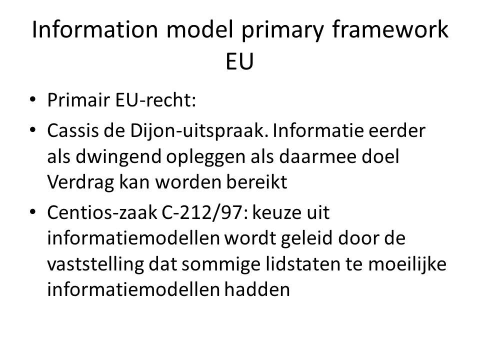 Information model primary framework EU