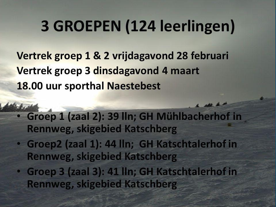 3 GROEPEN (124 leerlingen) Vertrek groep 1 & 2 vrijdagavond 28 februari. Vertrek groep 3 dinsdagavond 4 maart.