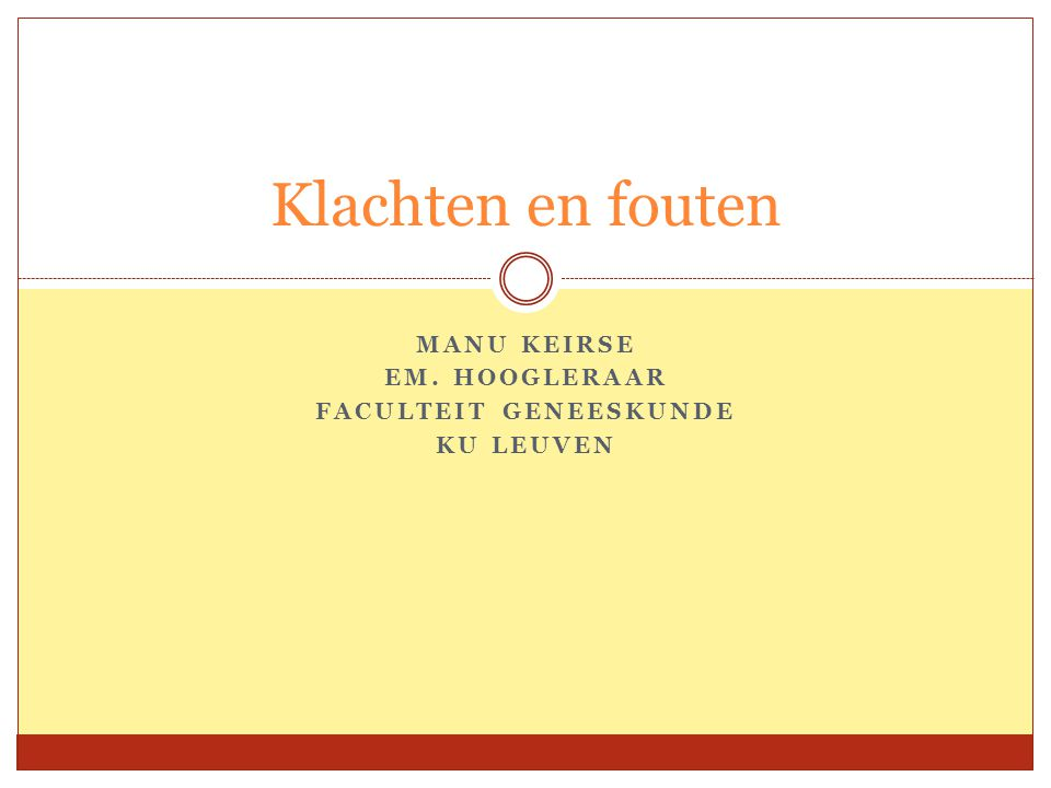 Manu Keirse Em. Hoogleraar Faculteit Geneeskunde KU Leuven