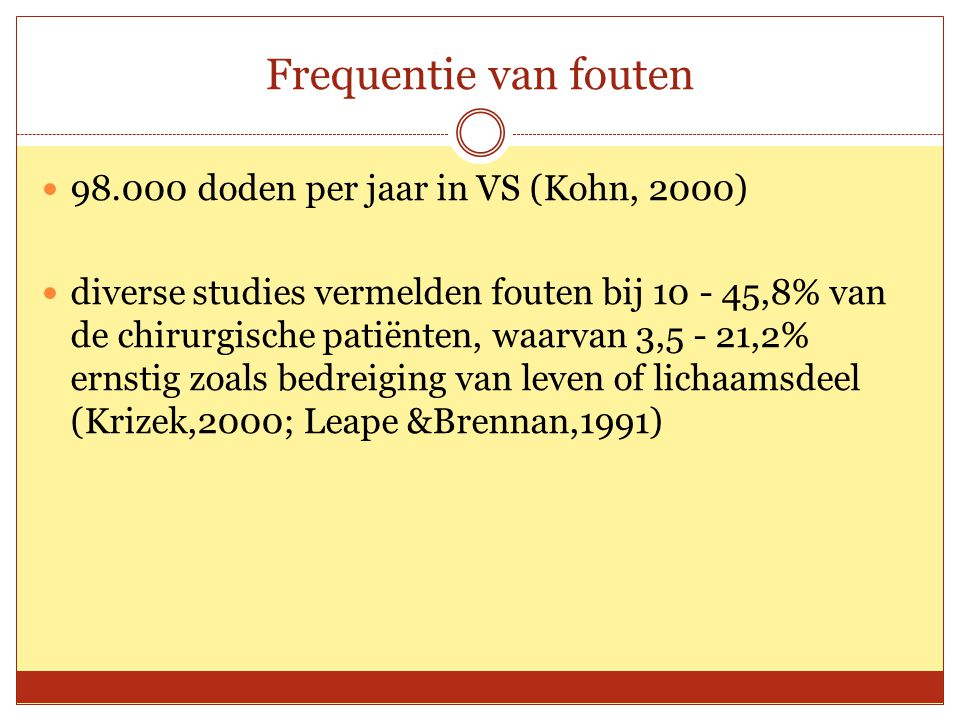 Frequentie van fouten 98.000 doden per jaar in VS (Kohn, 2000)