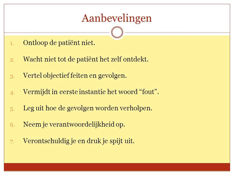 Aanbevelingen Ontloop de patiënt niet.
