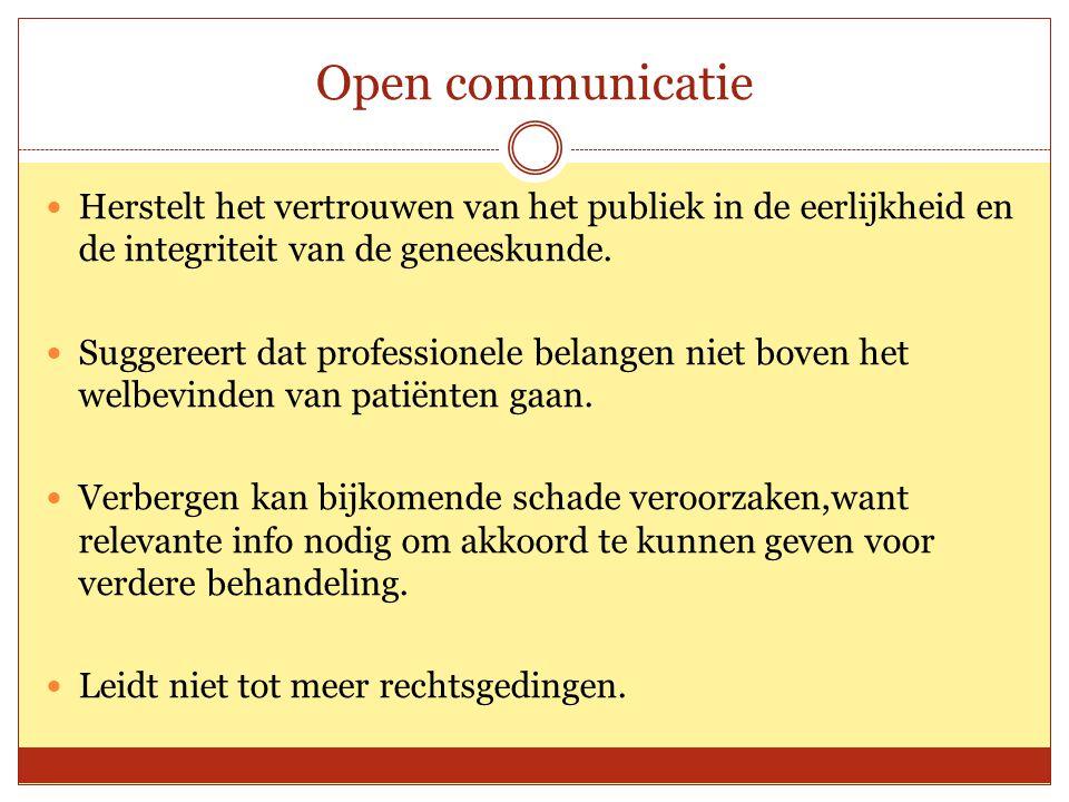 Open communicatie Herstelt het vertrouwen van het publiek in de eerlijkheid en de integriteit van de geneeskunde.