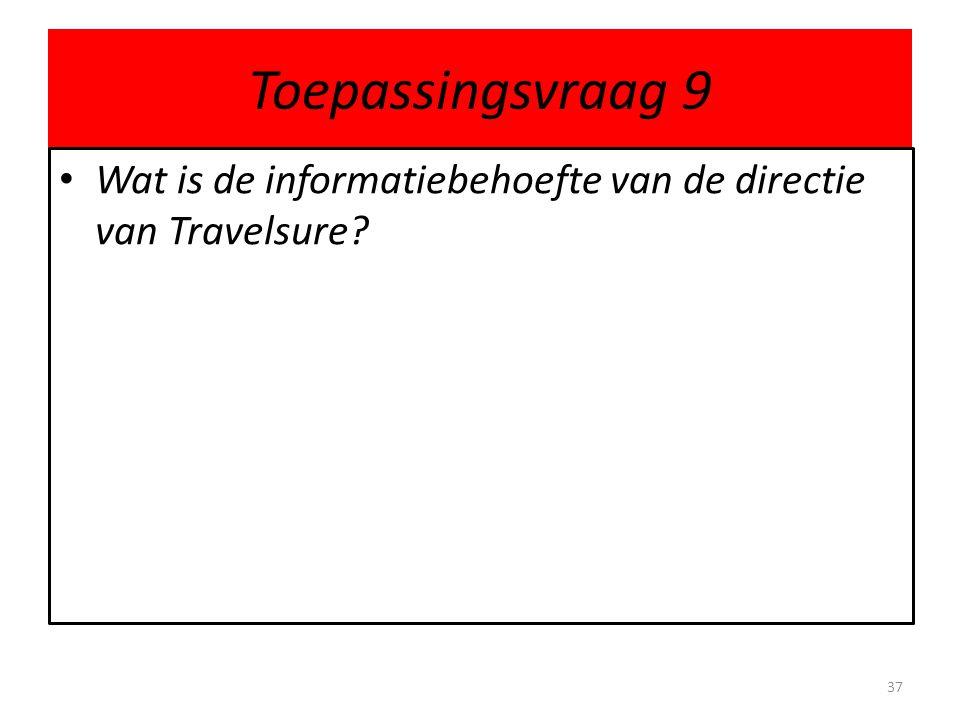 Toepassingsvraag 9 Wat is de informatiebehoefte van de directie van Travelsure