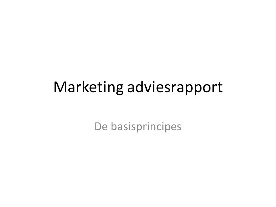 Marketing adviesrapport