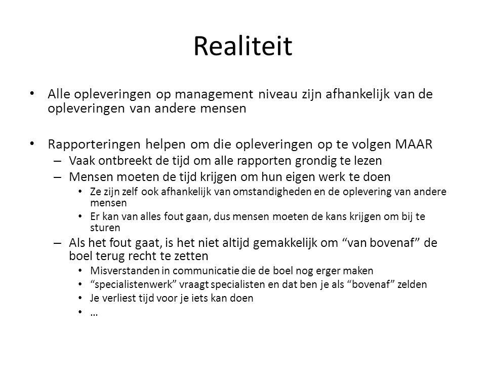 Realiteit Alle opleveringen op management niveau zijn afhankelijk van de opleveringen van andere mensen.
