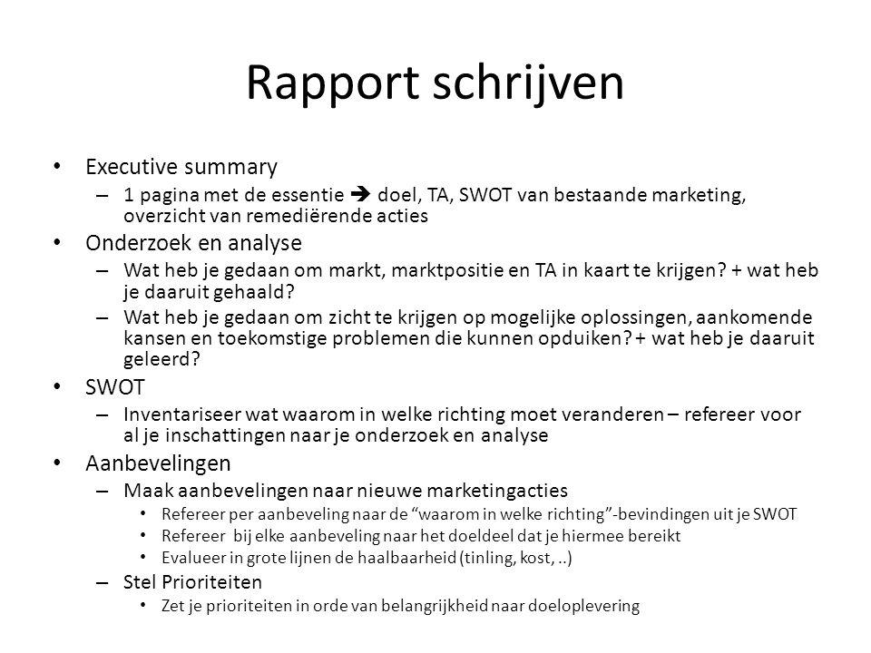 Rapport schrijven Executive summary Onderzoek en analyse SWOT