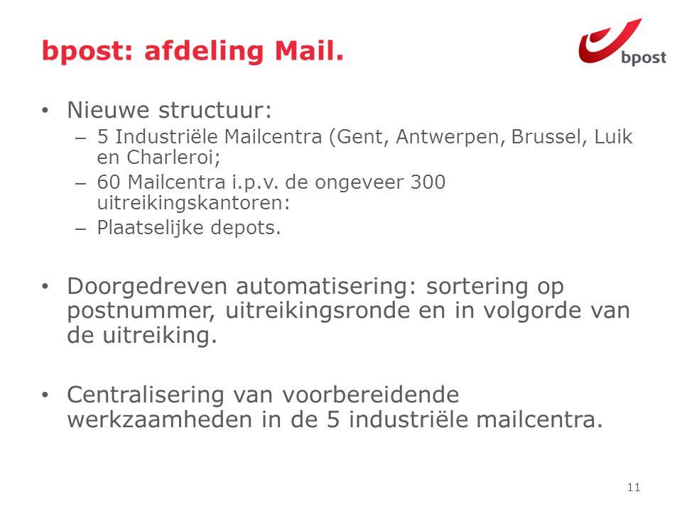 bpost: afdeling Mail. Nieuwe structuur:
