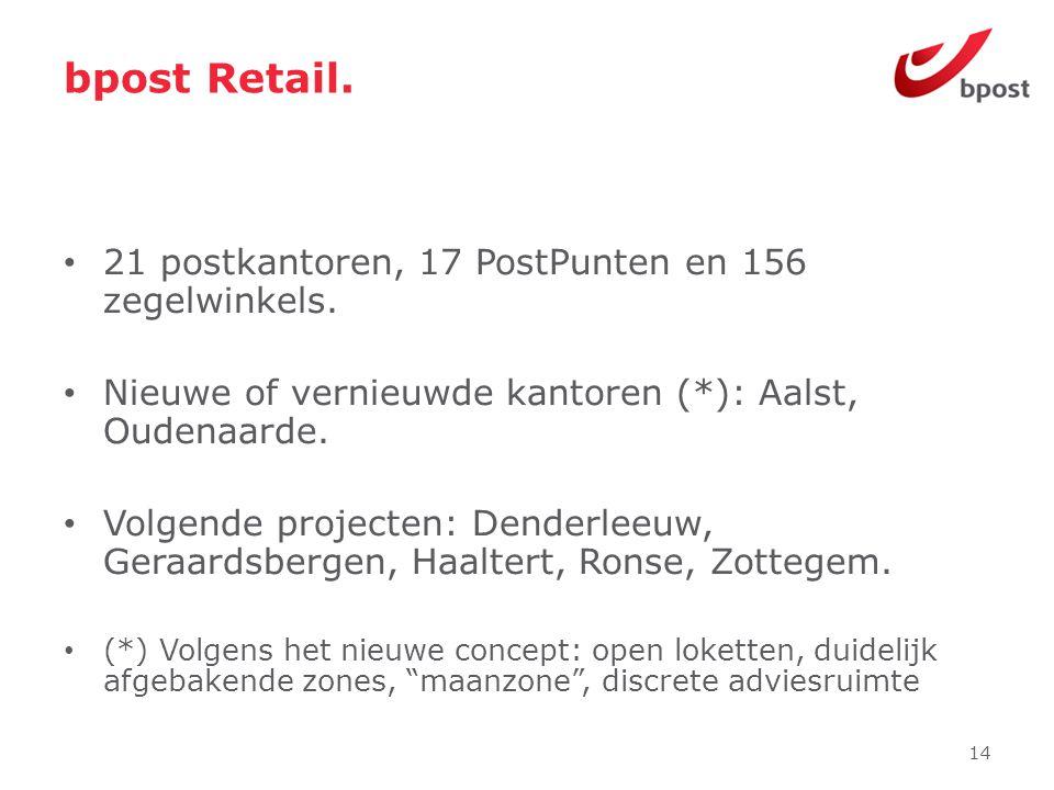 bpost Retail. 21 postkantoren, 17 PostPunten en 156 zegelwinkels.