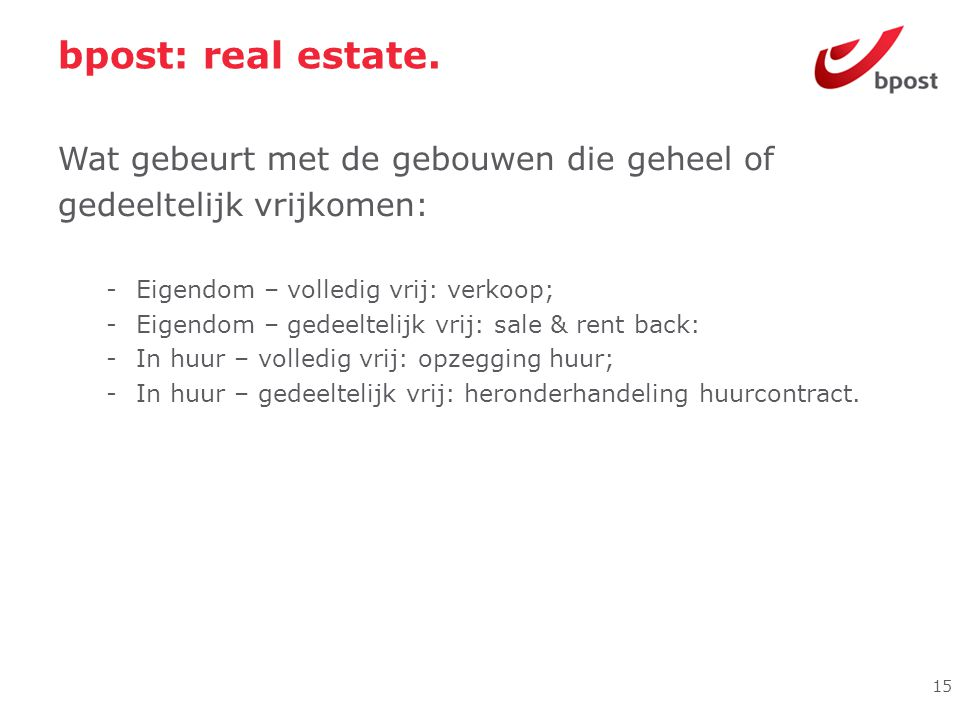 bpost: real estate. Wat gebeurt met de gebouwen die geheel of