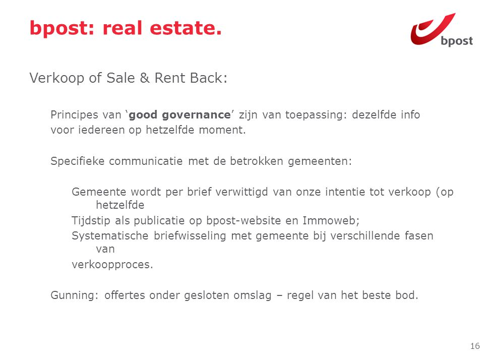 bpost: real estate. Verkoop of Sale & Rent Back: