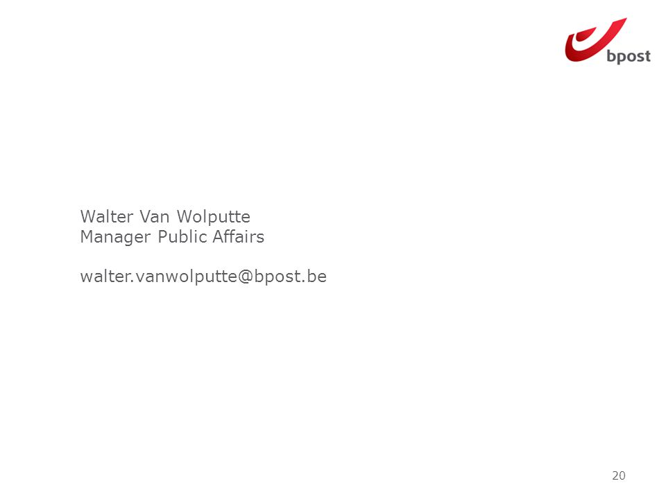 Walter Van Wolputte Manager Public Affairs