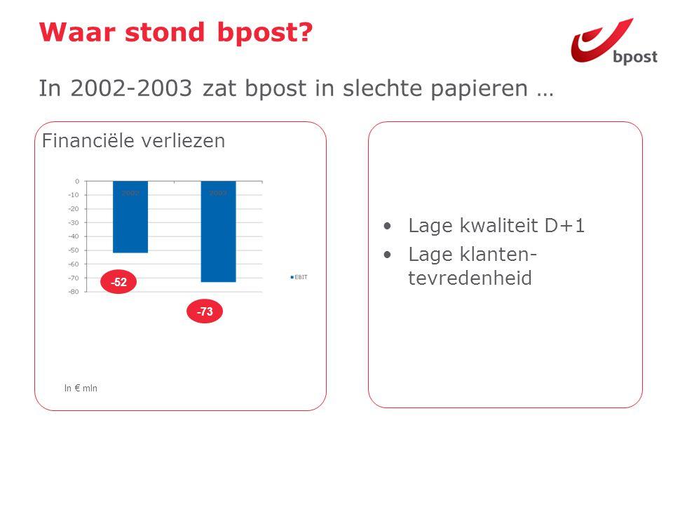 Waar stond bpost In 2002-2003 zat bpost in slechte papieren …