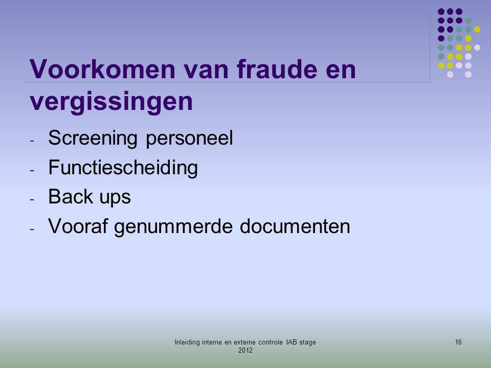 Voorkomen van fraude en vergissingen