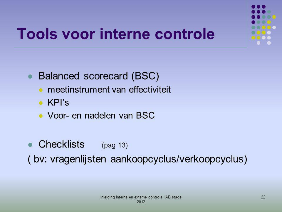 Tools voor interne controle