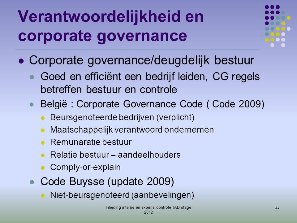 Verantwoordelijkheid en corporate governance