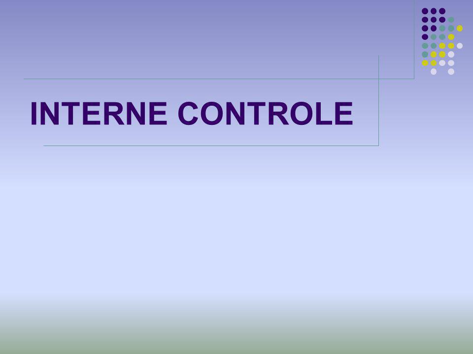 INTERNE CONTROLE Klik hier om tekst toe te voegen