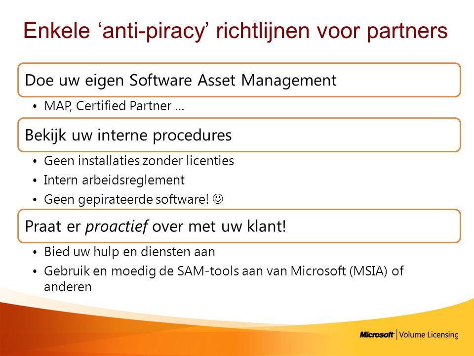 Enkele 'anti-piracy' richtlijnen voor partners