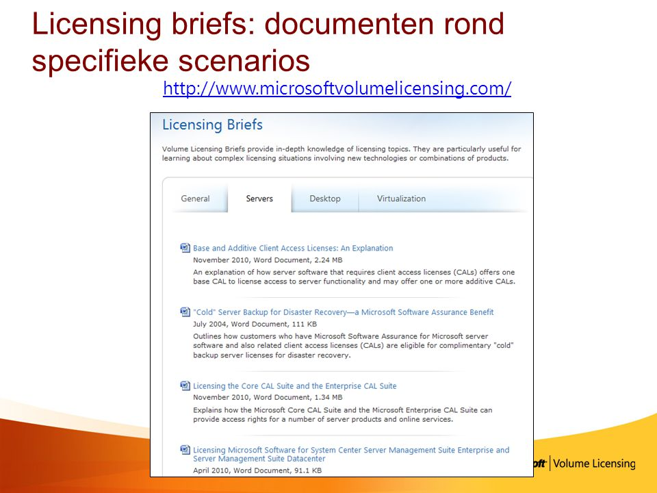 Licensing briefs: documenten rond specifieke scenarios