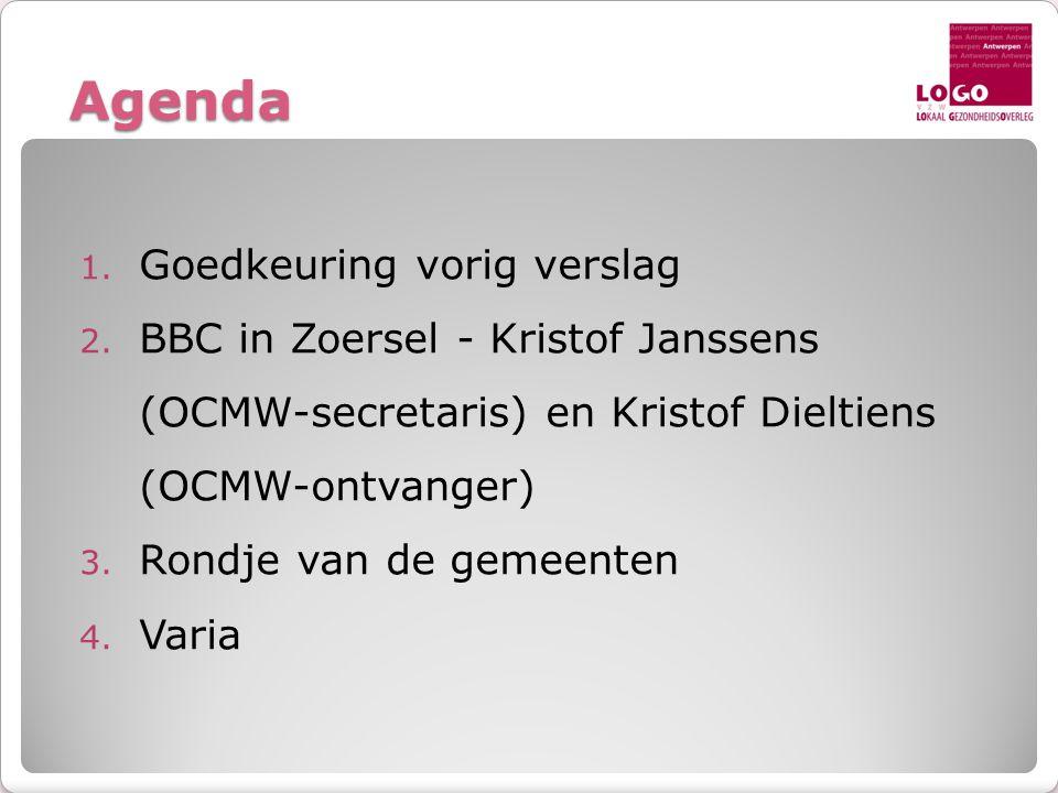 Agenda Goedkeuring vorig verslag