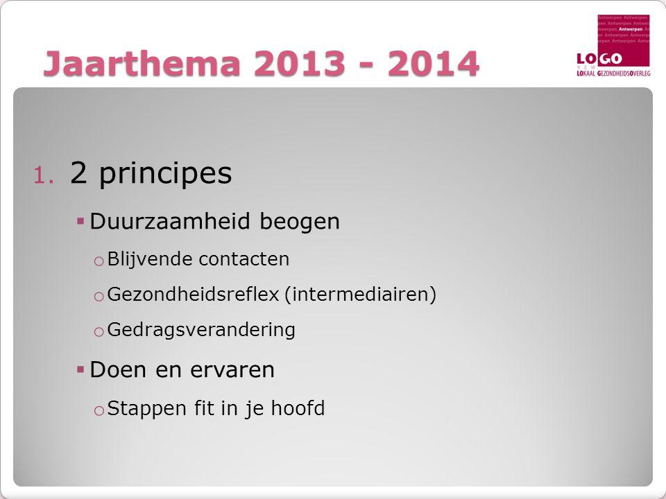 Jaarthema 2013 - 2014 2 principes Duurzaamheid beogen Doen en ervaren