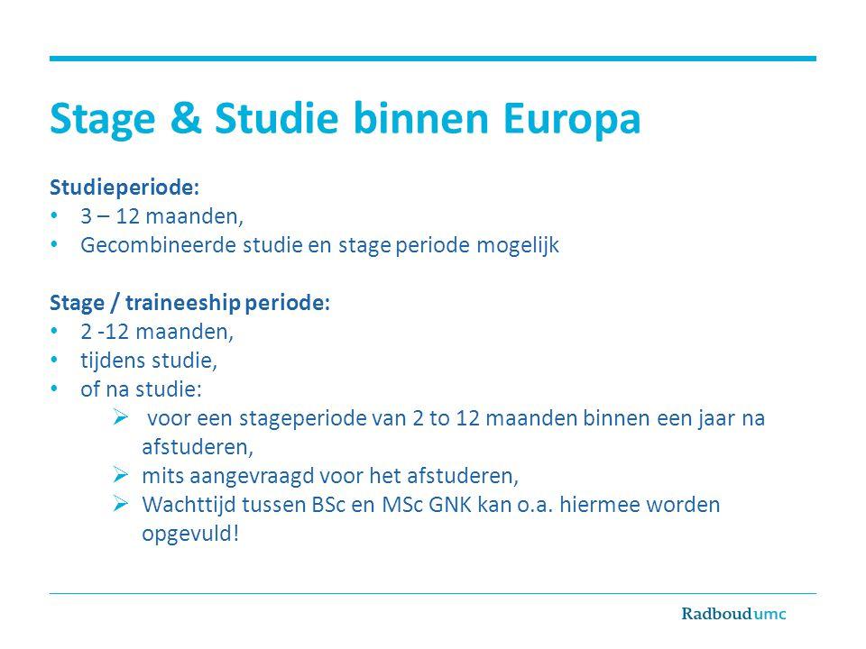 Stage & Studie binnen Europa