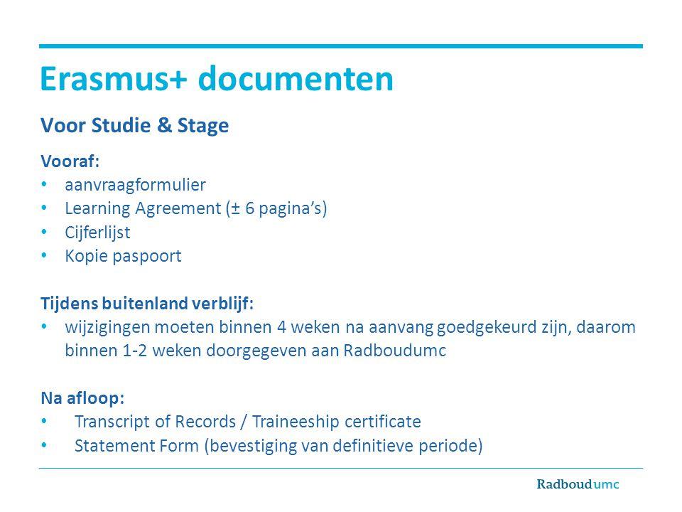 Erasmus+ documenten Voor Studie & Stage Vooraf: aanvraagformulier