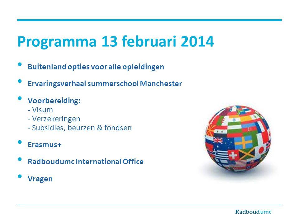 Programma 13 februari 2014 Buitenland opties voor alle opleidingen